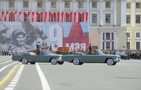 commander: SAINT PETERSBURG, RUSSIA - MAY 09, 2015: The commander of ZVO Colonel-General Sidorov AA opens with the rehearsal of parade in honor of Victory day