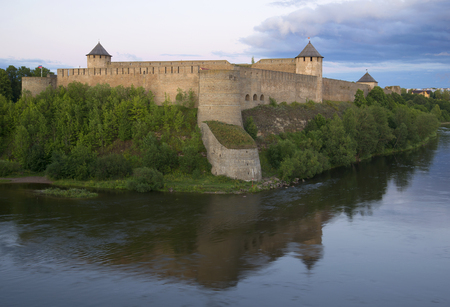 Ancient Ivangorod fortress in the summer twilight Editorial
