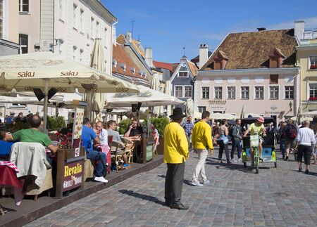 town hall square: TALLINN, ESTONIA - AUGUST 01, 2015: Summer sunny day on the town hall square. Tourist landmark of the city Tallinn Editorial
