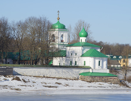 transfiguration: The old Church of the Apostle and Protomartyr Stephen in the Holy Transfiguration monastery. Pskov Stock Photo