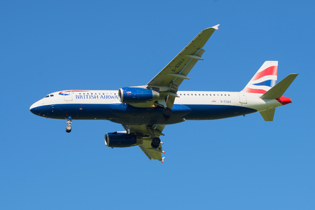 british weather: SAINT PETERSBURG, RUSSIA - AUGUST 24, 2016: The aircraft British Airways Airbus A320-232 (G-EUUJ) before landing in Pulkovo airport