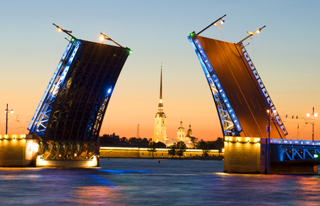 Divorced Palace bridge and the Peter and Paul Cathedral, white night. Saint Petersburg