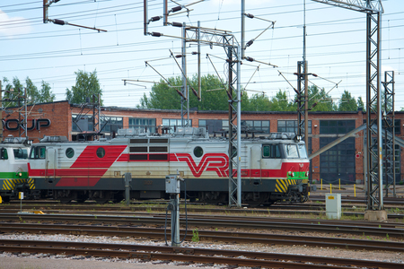 KOUVOLA, FINLAND - AUG 20, 2016: One-section electric locomotive Sr1 (VL-70) in the locomotive depot train station Kouvola