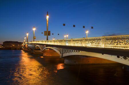The Blagoveshchensky bridge on a summer night. Saint Petersburg
