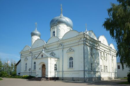 St. Basils Cathedral Zverin Monastery in Veliky Novgorod, sunny july day. Russia