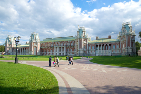 MOSCOW, RUSSIA - SEPTEMBER 06, 2016: The Great Tsaritsyno Palace cloudy September day