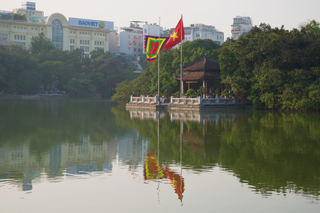 returned: HANOI, VIETNAM - DECEMBER 13, 2015: Jade Mountain Temple at Sword Lake in the early morning