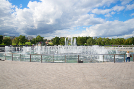 tsaritsyno: MOSCOW, RUSSIA - SEPTEMBER 06, 2016: The fountain in memorial estate Tsaritsyno in the cloudy September afternoon