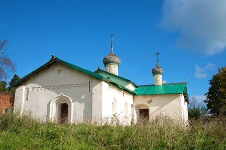 leningrad: At ancient church of Basil the Great is (1686) in the sunny September day. Village Chernavino of the Leningrad region, Russia Stock Photo