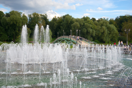 MOSCOW, RUSSIA - SEPTEMBER 06, 2016: The fountain in the Tsaritsyno park in the cloudy September afternoon