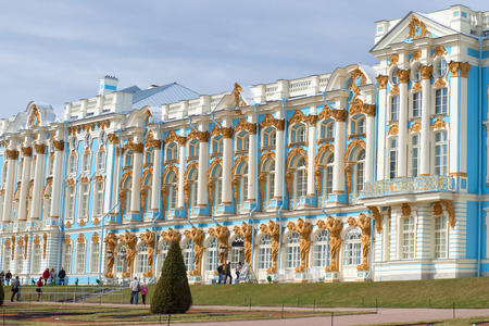 pushkin: ST. PETERSBURG, RUSSIA - APRIL 17, 2016: Fragment of a facade of Catherine Palace in the cloudy April afternoon. Tsarskoye Selo