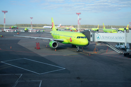 airbus: MOSCOW, RUSSIA - APRIL 30, 2016: Airbus A319-100 (VP-BHP) S7 Airlines at Domodedovo airport