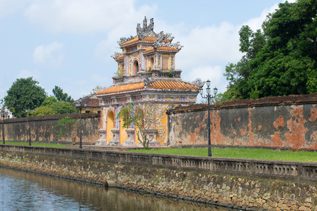 View of the Western gate of the Forbidden Purple city to Hue, Vietnam Editorial
