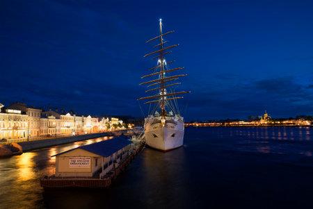 SAINT PETERSBURG, RUSSIA - JULY 06, 2015: View of the cruise ship Sea Cloud II on the English Marina, white night. The tourist landmark of the city Saint Petersburg