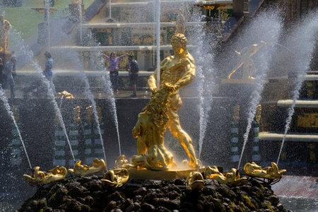 historical landmark: SAINT PETERSBURG, RUSSIA - JULY 03, 2015: Fountain Samson, tearing the lions mouth closeup. The historical landmark of the Petrodvorets Editorial