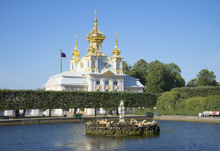 petrodvorets: SAINT PETERSBURG, RUSSIA - JULY 03, 2015: Summer evening in the Upper Park. The historical landmark of the Petrodvorets