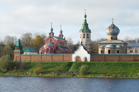View of temples of the Old Ladoga Nikolsky monastery in the cloudy October afternoon. Old Ladoga, Russia