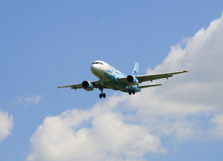zenith: SAINT PETERSBURG, RUSSIA - JUNE 29, 2015: Airbus A319-111 (VQ-BAS) of the airline Russia in the color of the football club Zenit landing