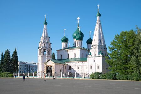 golden ring: Church of Elijah the prophet Sunny day in July. Yaroslavl, the Golden ring of Russi