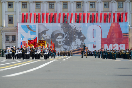 SAINT PETERSBURG, RUSSIA - MAY 05, 2015: Squad drummers Nakhimov naval school on rehearsal of parade in honor of Victory Day Editorial