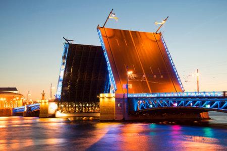 Divorced Palace bridge in white night closeup. Saint Petersburg, Russia