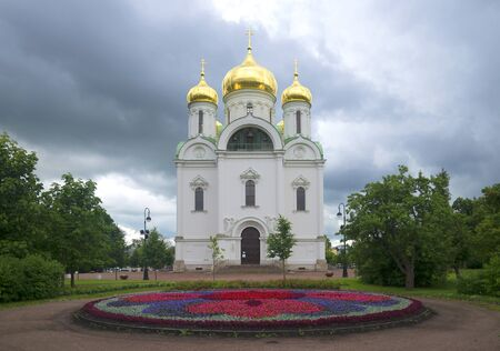 The old Cathedral of Saint Catherine, cloudy july afternoon. Tsarskoye Selo