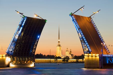 leningrad: Divorced Palace bridge and the Peter and Paul Cathedral during the white nights. Saint Petersburg
