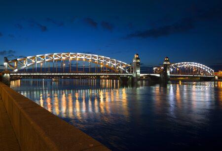 leningrad: View Bolsheokhtinsky Bridge summer night. St. Petersburg