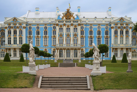 SAINT PETERSBURG, RUSSIA - JULY 08, 2015: The facade of the Catherine Palace from the Park, cloudy summer morning. The historical landmark of the Tsarskoye Selo