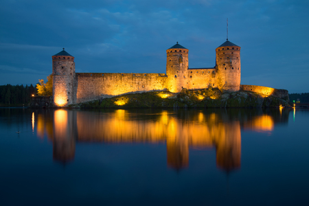 strengthening: View of towers of Olavinlinn fortress in August night. Savonlinna, Finland Stock Photo