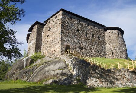 Ancient castle in Raseborg closeup, summer day. Finland