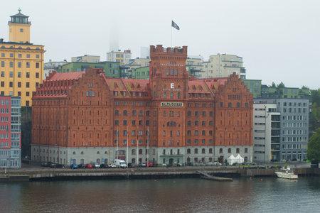 elite: STOCKHOLM, SWEDEN - AUGUST 29, 2016: Elite Marina Tower hotel in the foggy gloomy afternoon. Stockholm, Sweden