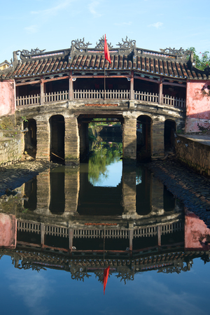 ponte giapponese: Ancient primo piano Ponte giapponese. Hoi An, Vietnam