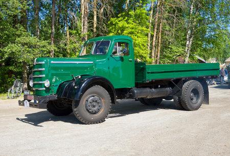 KERIMAKI, FINLAND - JUNE 06, 2015: Truck Sisu 50 years on the parade of vintage cars. Kerimaki, Finland