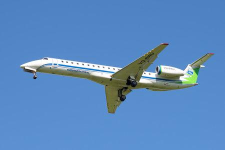 turbojet: ST. PETERSBURG, RUSSIA - AUGUST 24, 2016: The Embraer ERJ-145LR plane (onboard VQ-BWU) Airline Komiaviatrans in the blue sky Editorial