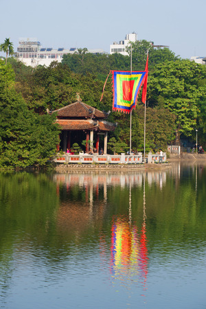HANOI, VIETNAM - DECEMBER 13, 2015: The temple of the Jade mountain on the lake Hoankyem in the sunny day