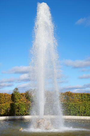 One of the menajerlik of fountains close up in the sunny October afternoon. Peterhof