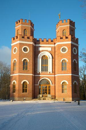 Pavilion of the Arsenal in November frosty morning. Alexander Park of Tsarskoye Selo