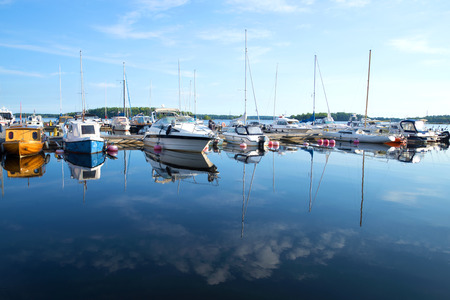 LAPPEENRANTA, FINLAND - AUGUST 21, Yachts and boats on the Saimaa lake in the early August morning Editorial