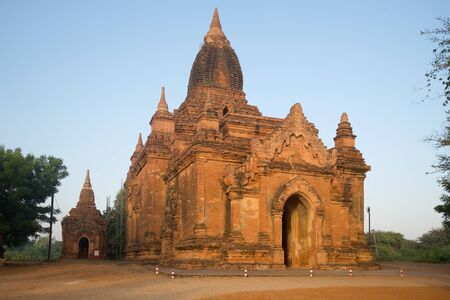 One of the Buddhist temples of old Bagan in the early morning. Myanmar