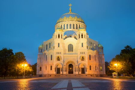 The Naval Cathedral of St. Nicholas in Anchor square white night. Kronshtadt, Russia Stock Photo