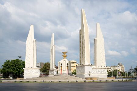 BANGKOK, THAILAND - JANUARY 03, 2017: The Democracy Monument on the Boulevard Thanon Ratchadamnoen cloud  day Editorial