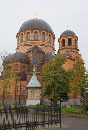 desolated: The Narva resurrection Cathedral, cloudy October day. Narva, Estonia Stock Photo