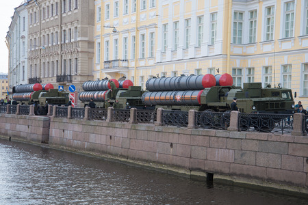 hits: SAINT PETERSBURG, RUSSIA - MAY 05, 2015: Three missile launchers s-300PM on the embankment of the Moika river. Preparing for the rehearsal of parade in honor of Victory Day