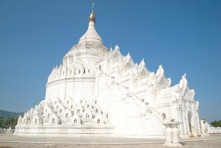 White stupa Hsinbyume Pagoda closeup. Mingun, Myanmar Stock Photo