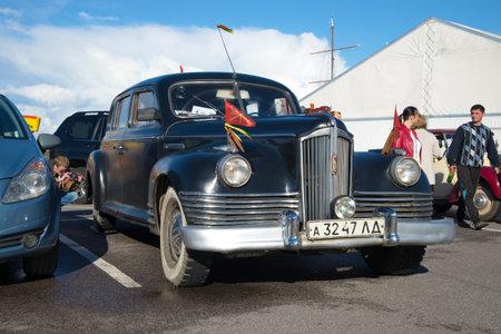 postwar: SAINT PETERSBURG, RUSSIA - SEPTEMBER 04, 2016: Soviet executive car ZIS-110 (1945.) closeup. The parade of retro transport in Kronstadt Editorial