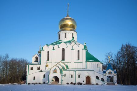 Fedorovsky cathedral in the November evening. Tsarskoye Selo, St. Petersburg