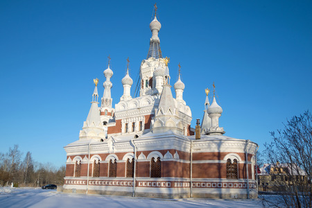 Nicholas The Wonderworkers temple in the sunny February afternoon. Vicinities of St. Petersburg