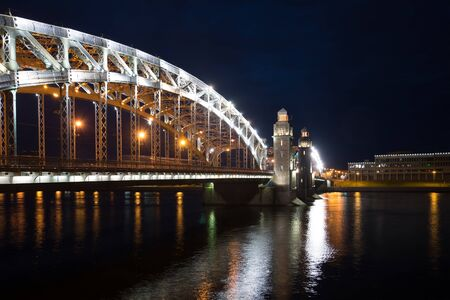 peter the great: June night at Peter the Great Bridge. Night St. Petersburg Stock Photo