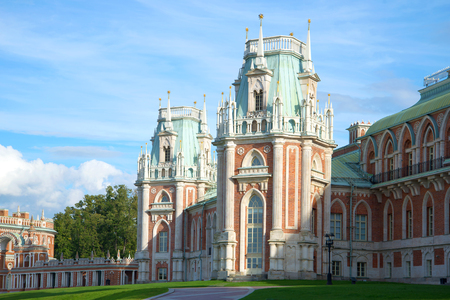 Turrets of the Big Tsaritsyno palace in the September day Editorial